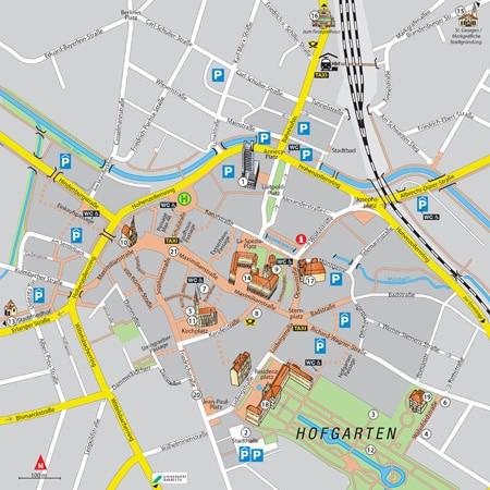Stadtplan des Fußgängerleitsystems