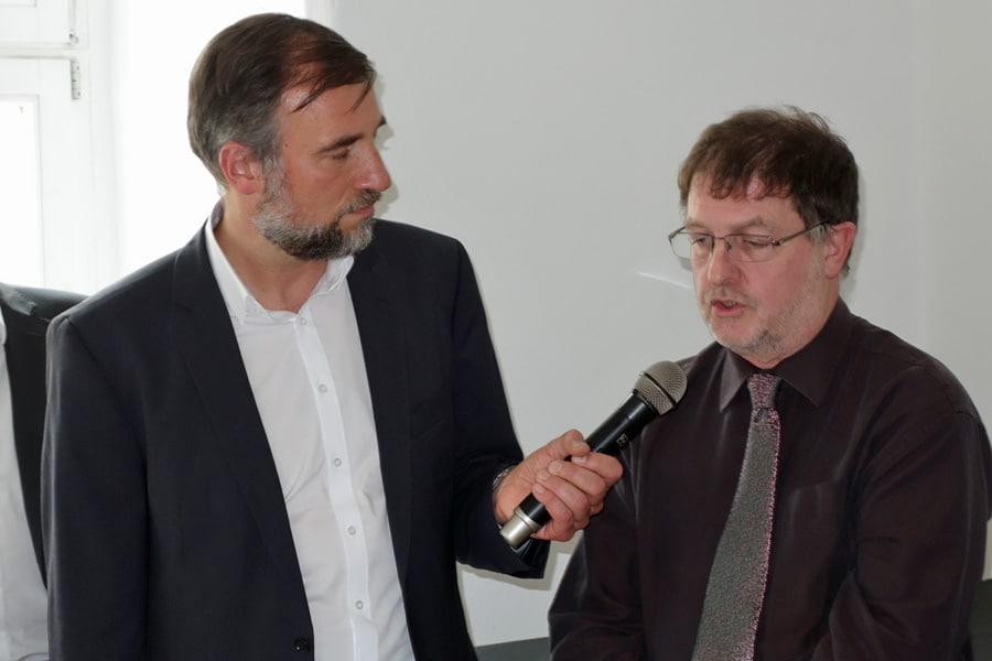 Moderator Hr. Lotze mit Hrn. Dr Pick vom Landesamt für Denkmalpflege