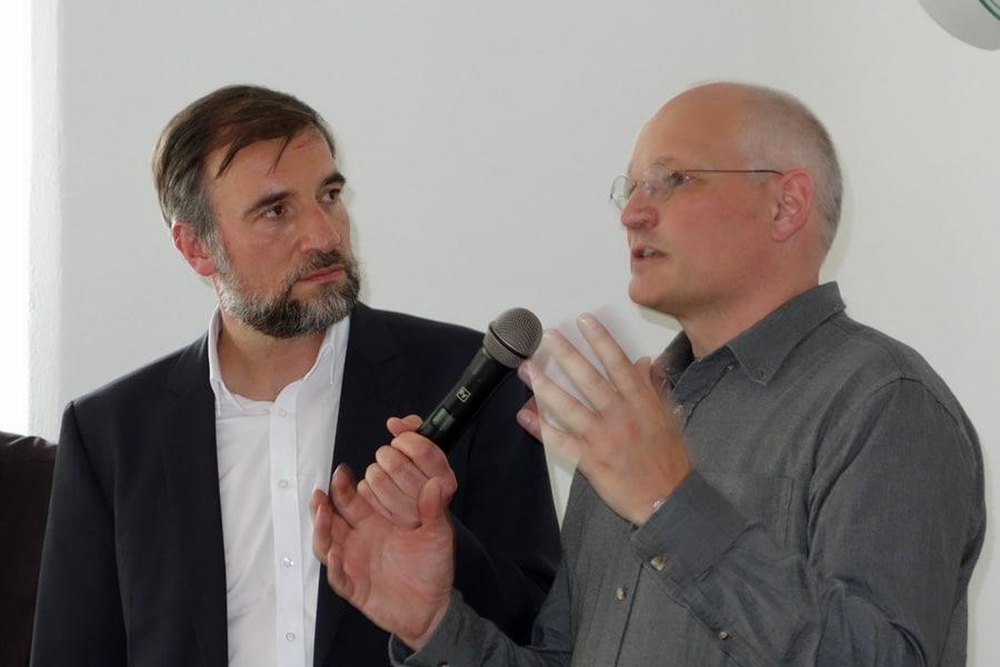 Moderator Hr. Lotze mit Hrn. Heckelsmüller Quartiersmanager