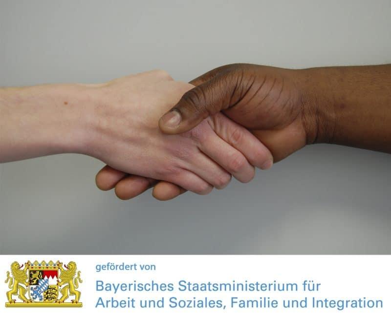 Logo Koordinierungsstelle Ehrenamt Asyl mit Logo Staatsministerium