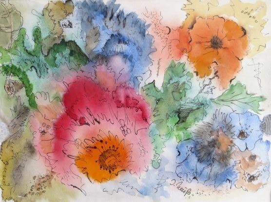 bunte Blumen aquarellartig gemalt