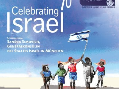 Kinder vor blauem Himmel mit israelischer Flagge