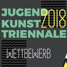 Logo JugendKunstTriennale in hellgrün und Jahr gelb