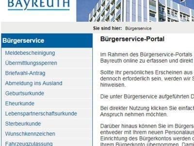 Screenshot Bürgerservice-Portal