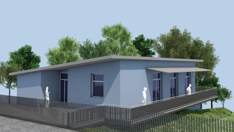 Die 3D-Animation zeigt, wie das neue Spielhaus am Abenteuerspielplatz in etwa aussehen wird.