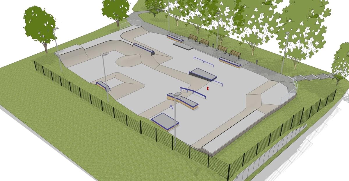 Planskizze der neuen Skateanlage