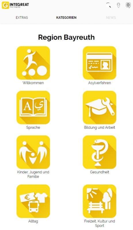 Screenshot der Bayreuther Integreat-App