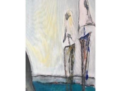 grau-weiße Figuren vor grau-gelbem Hintergrund