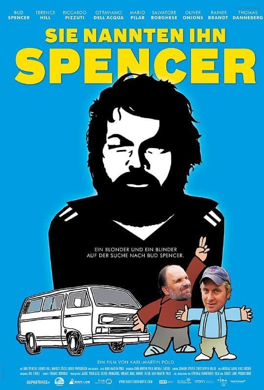 Bud Spencer als Silhoutte und 2 Männer davor samt Auto
