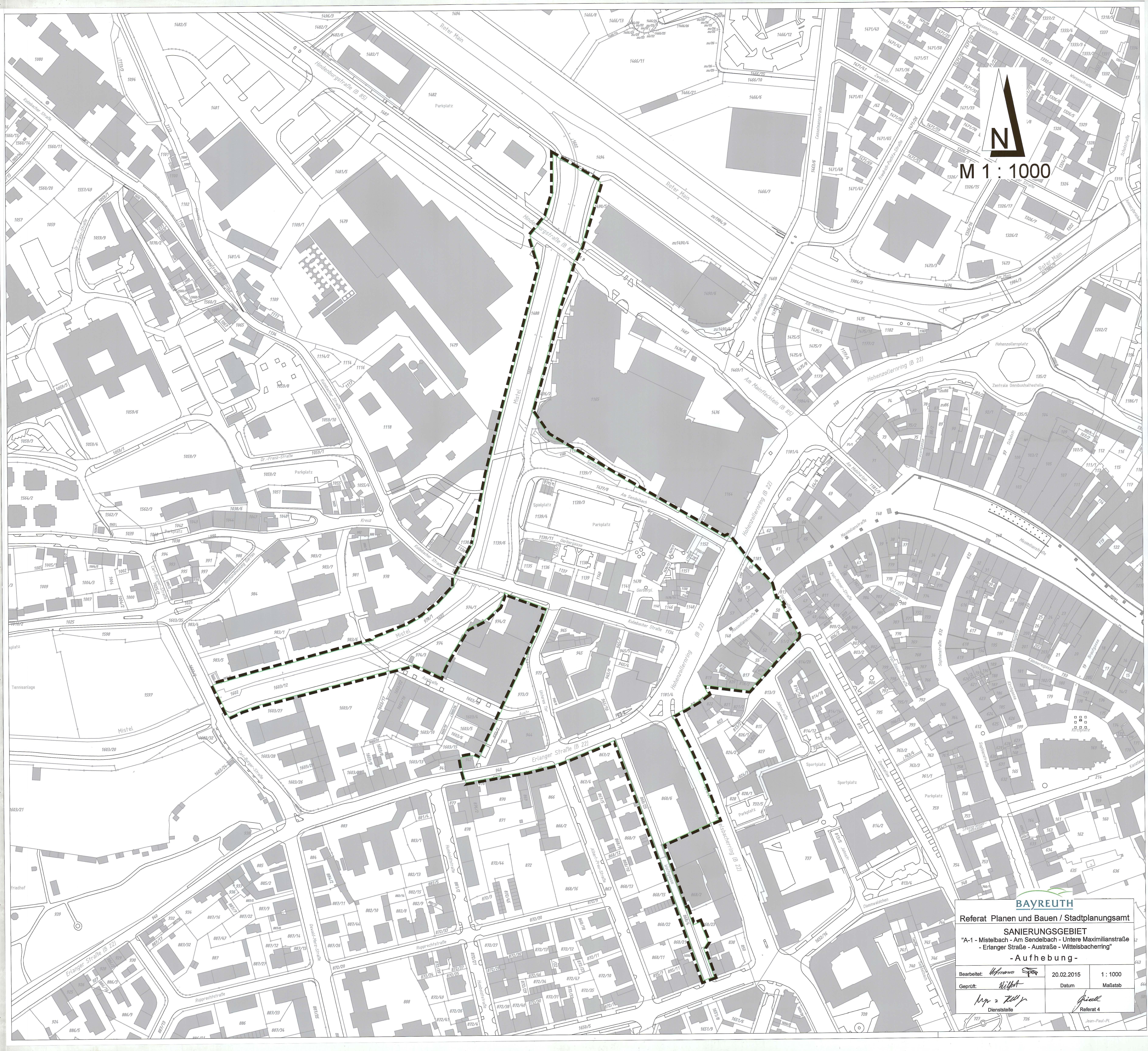 "Darstellung des Sanierungsgebiets ""A-1 – Mistelbach – Am Sendelbach – Untere Maximilianstraße – Erlanger Straße – Austraße – Wittelsbacherring"""