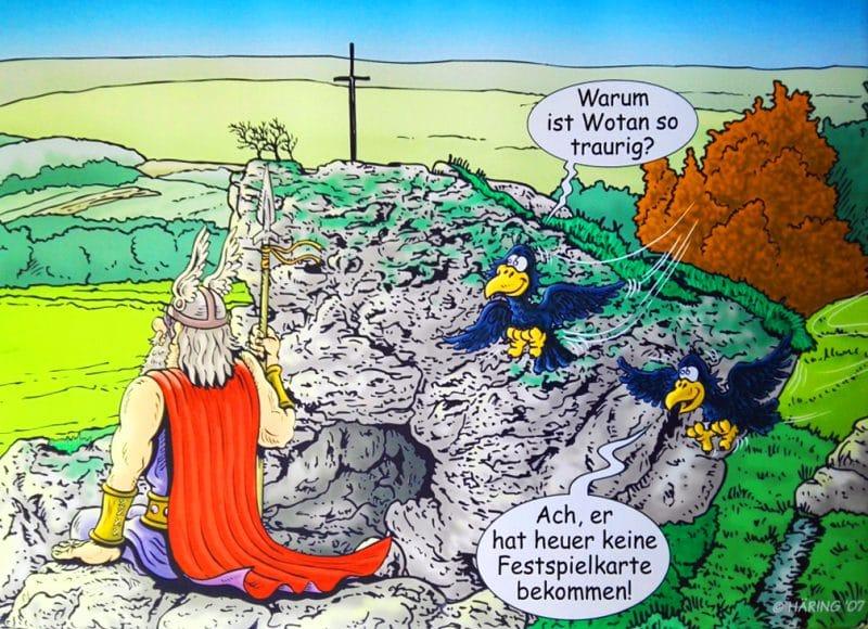Comicbild mit Wotan auf Felsen