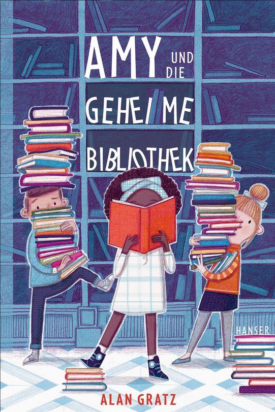 gezeichnete Mädchenfiguren mit Bücherstapeln