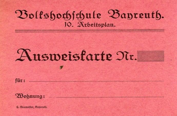 Ausweiskarte, aus: Akte Nr. 27220 Volkshochschule, allgemeines. 1919 – 1931