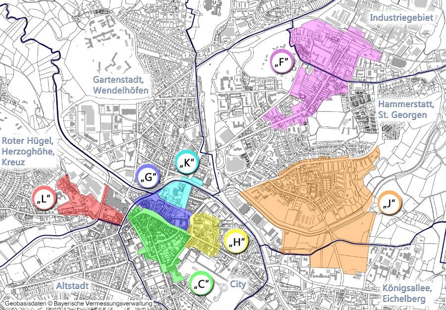 Übersichtsplan Sanierungsgebiete 2019