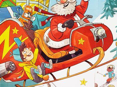Adventskalender mit Weihnachtsmann in Schlitten
