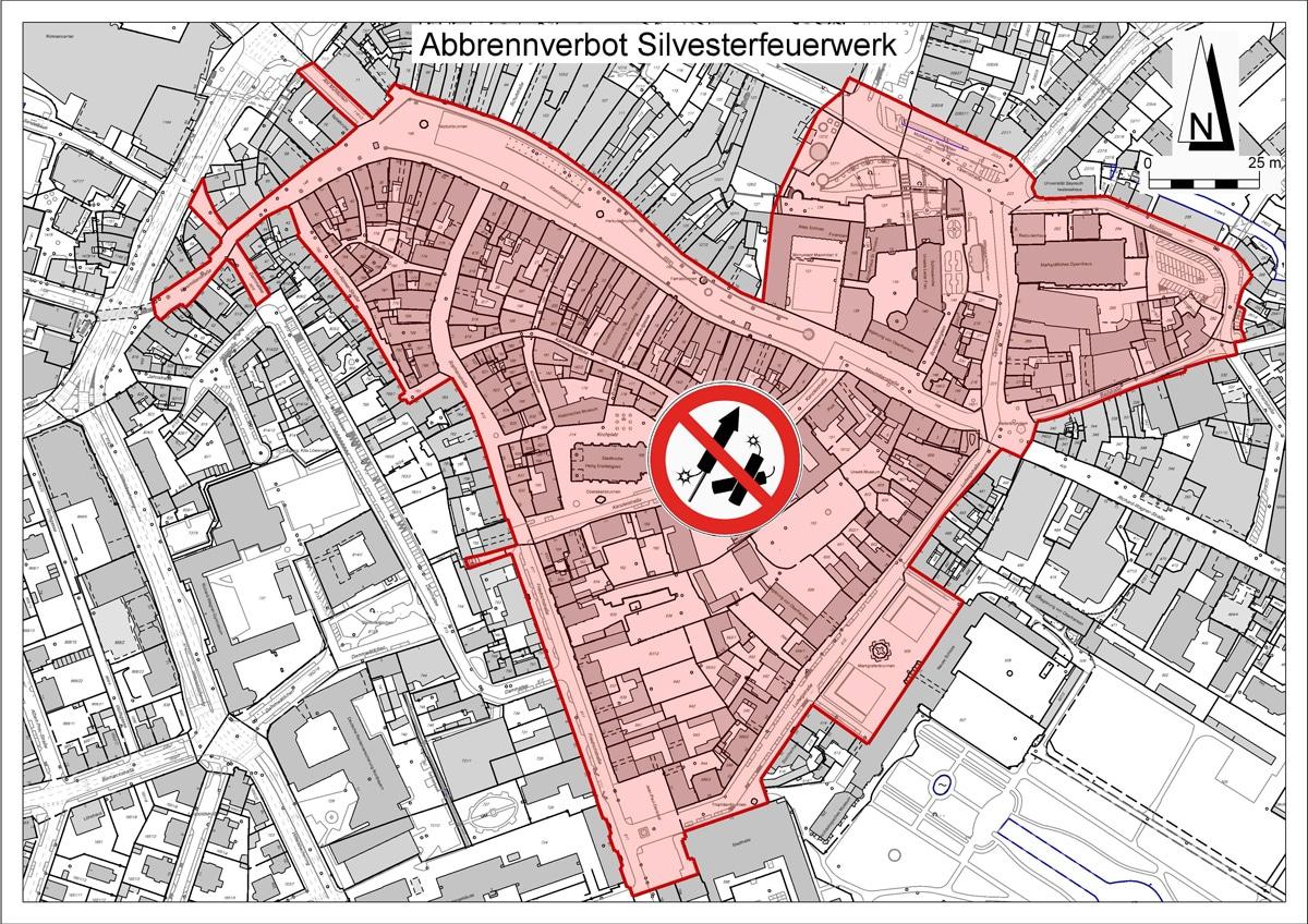 Im rot markierten Bereich der Bayreuther Innenstadt ist an Silvester und Neujahr das Abbrennen von Feuerwerkskörpern verboten. | Foto: Stadt Bayreuth