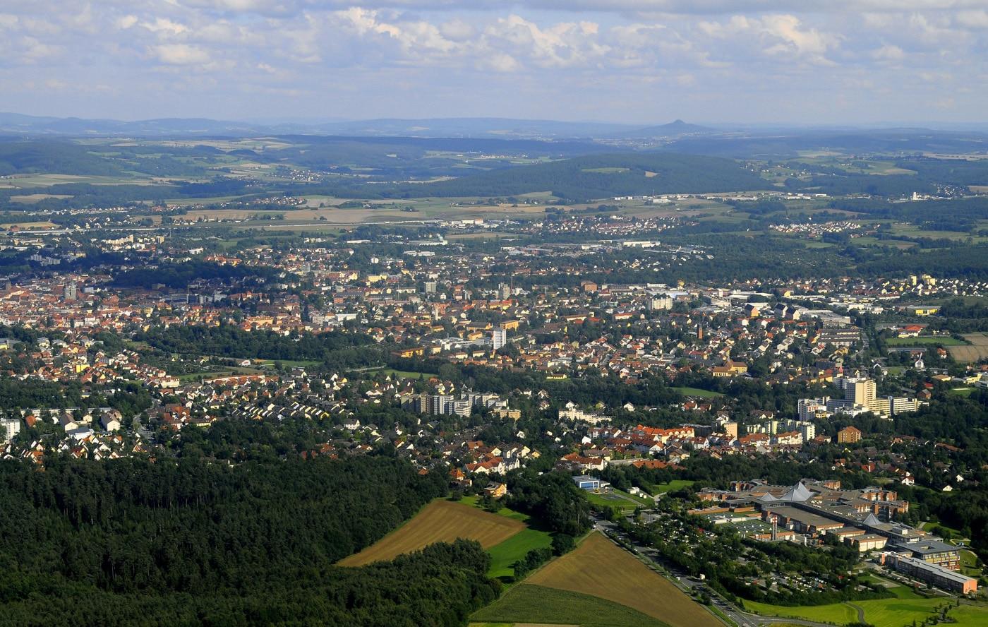 Blick auf Bayreuth aus der Vogelperspektive.