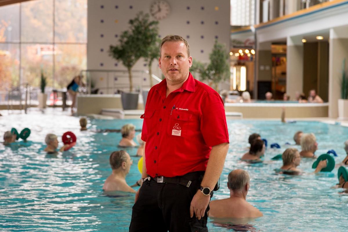 Mario Schmitt, Technik-Chef und stellvertretender Leiter, kennt die Lohengrin Therme wie seine Westentasche.