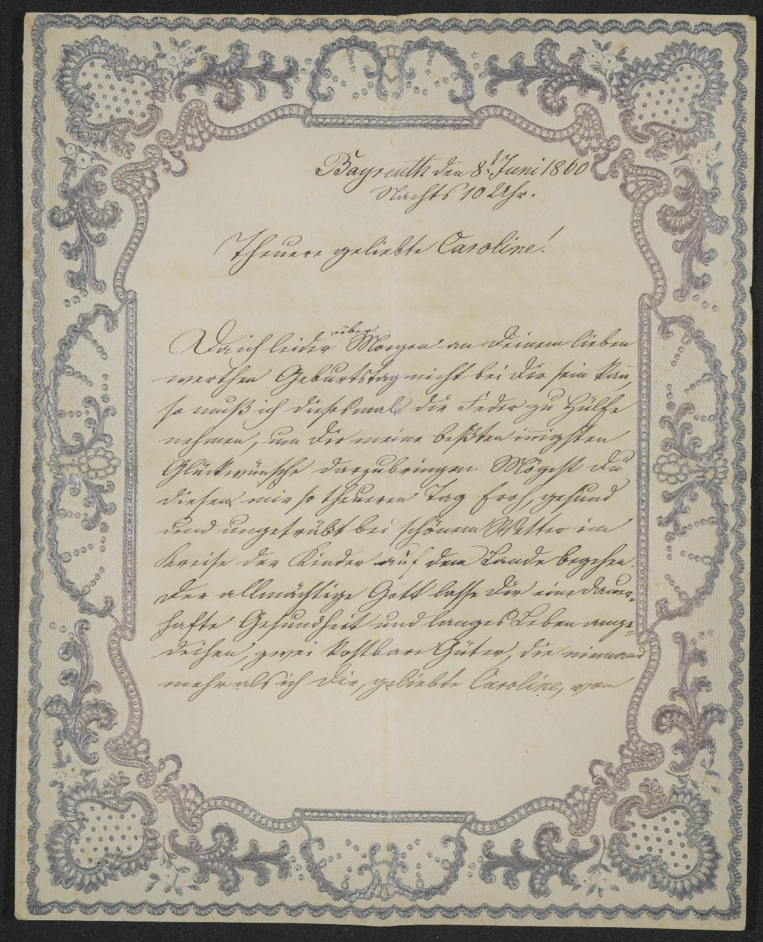 Brief mit edlem Spitzenrand