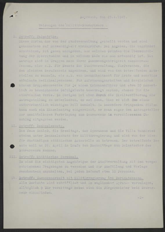 Weisungen der Militärregierung an den Oberbürgermeister der Stadt Bayreuth vom 25.04.1945