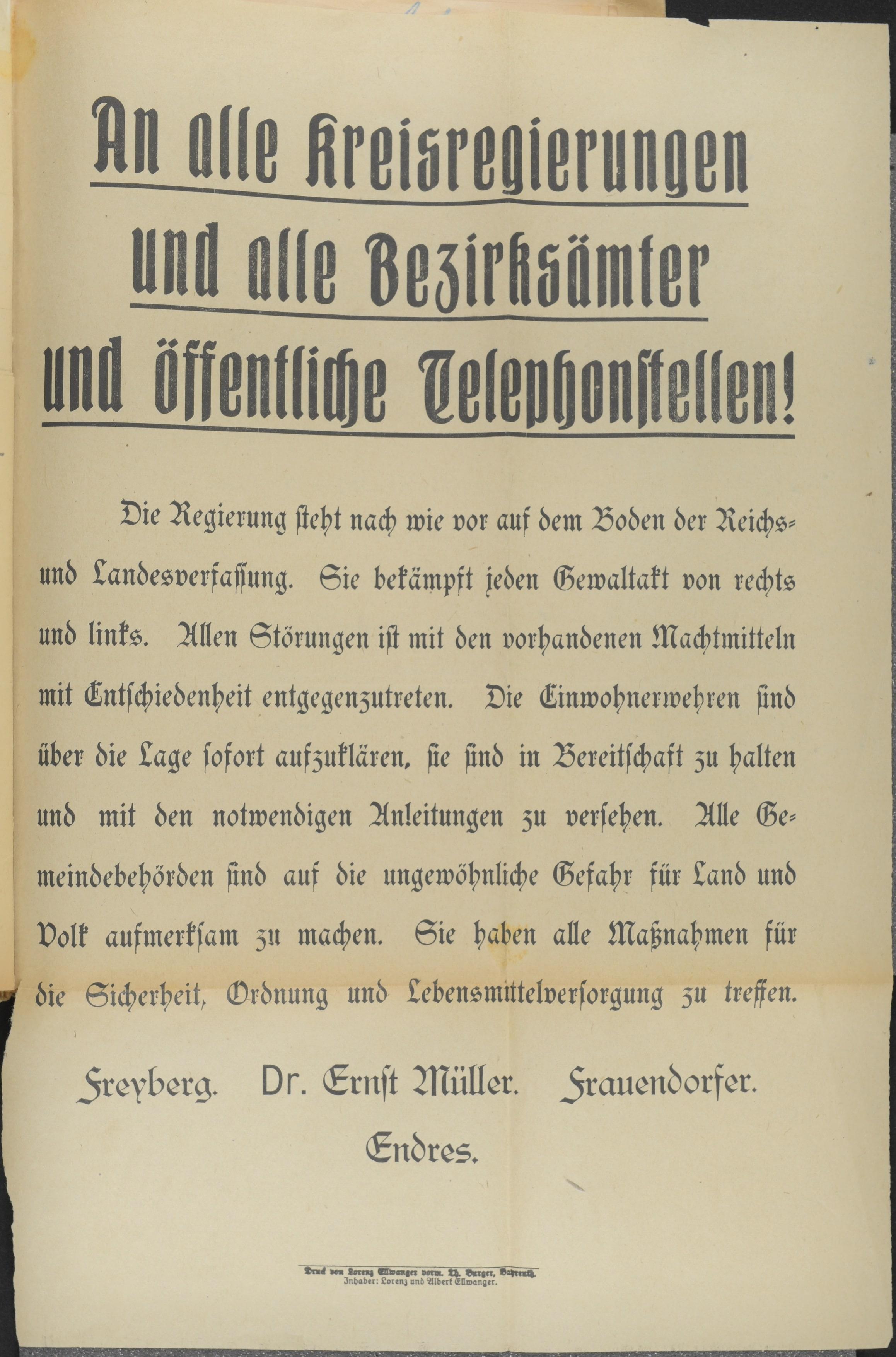 Aufruf/Anschlag an die Bürger der Stadt Bayreuth