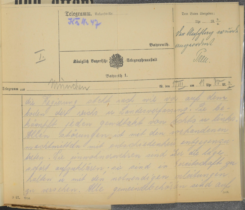 Telegramm aus München an die Stadt Bayreuth vom 11.03.1920
