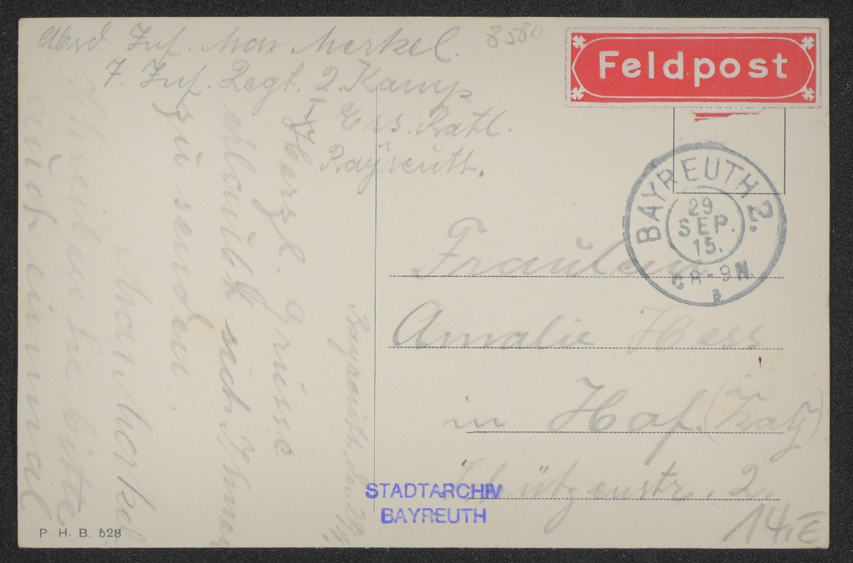Rückseite einer Feldpostkarte aus Bayreuth