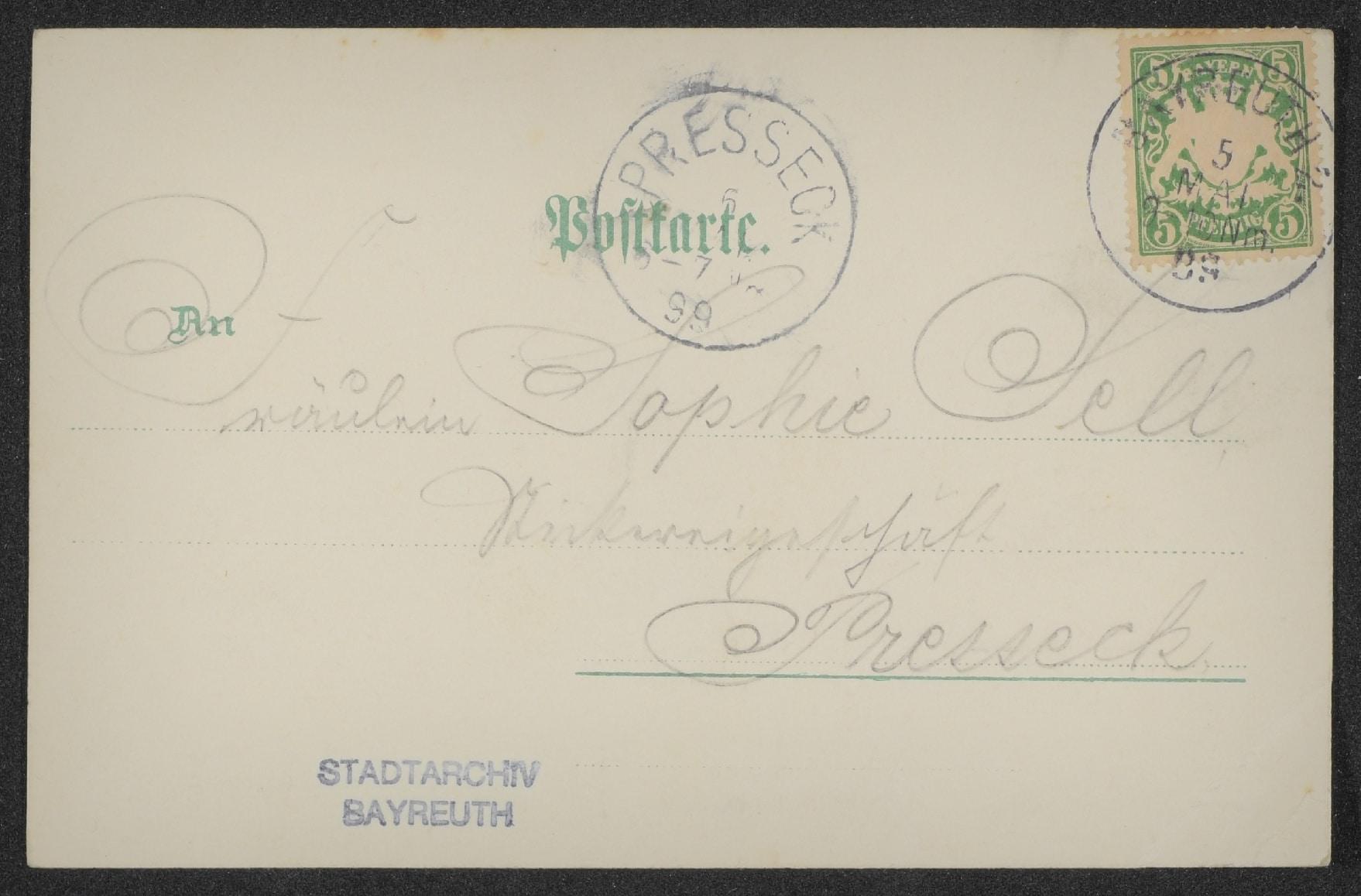 Ansichtskarte aus Bayreuth (Rückseite)