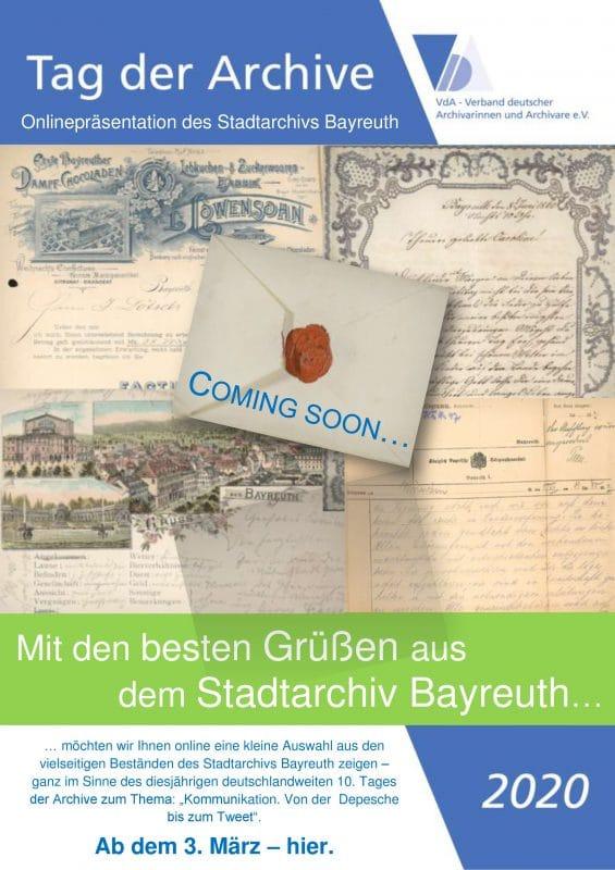 Ankündigung Tag der Archive 2020 - Onlinepräsentation im Stadtarchiv Bayreuth
