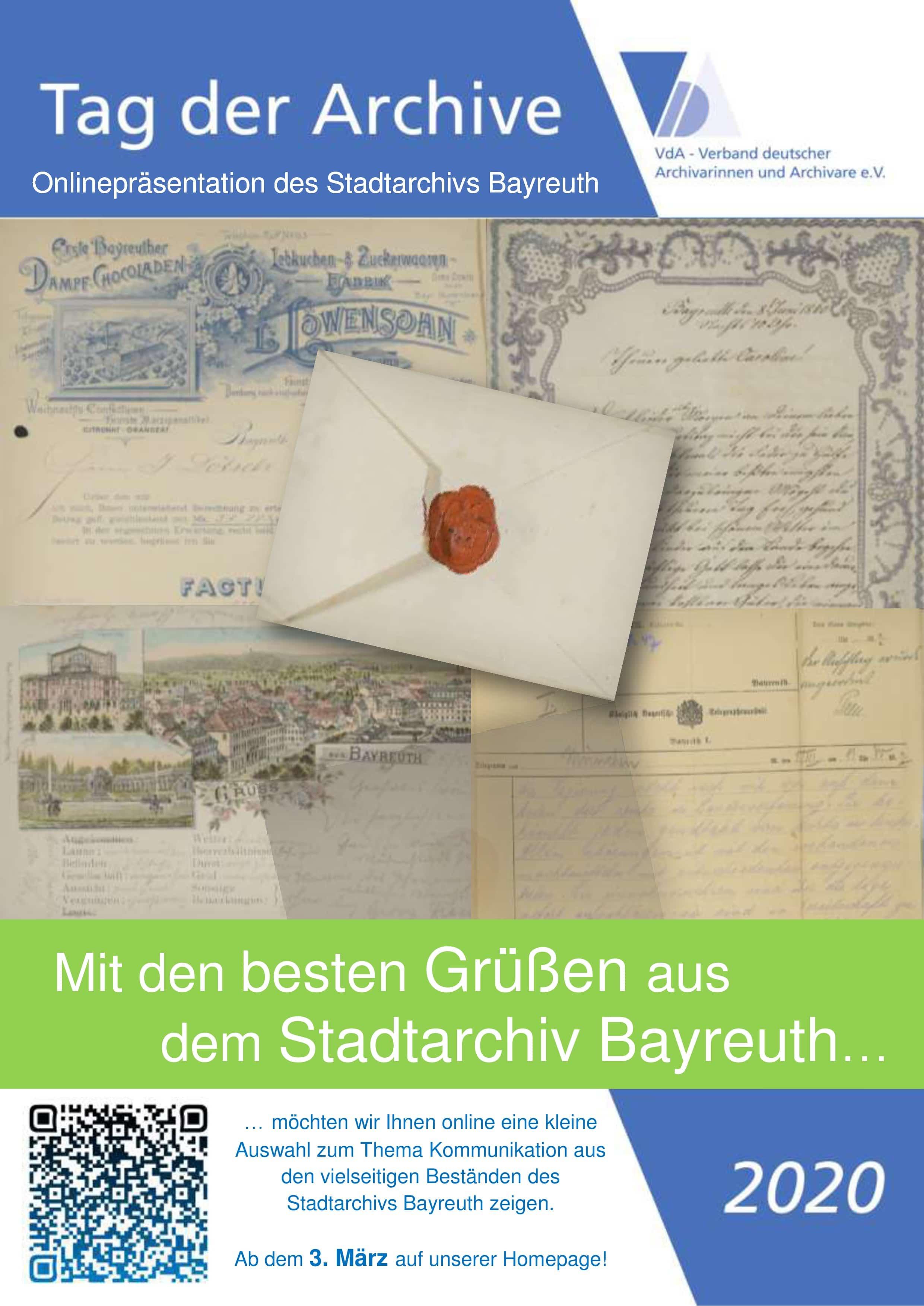 Flyer zur Onlinepräsentation des Stadtarchivs Bayreuth vom 3. bis 6. März im Rahmen des 10. Tages der Archive