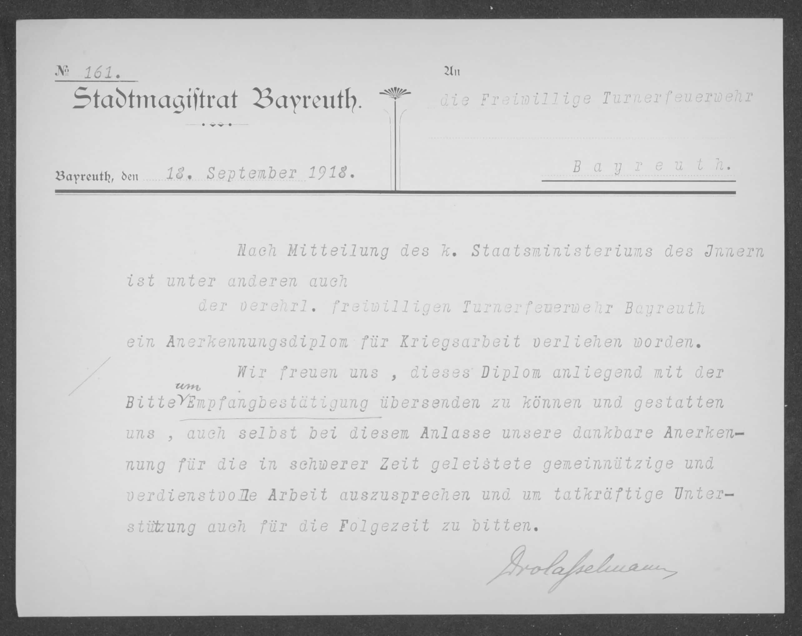 tadtABT-Feuerwehr-Nr.-144-Kriegsmaßnahmen-Mannschaft-und-Ausbildung-hier-Schreiben-des-Stadtmagistrats-Bayreuth-vom-18.-September-1918