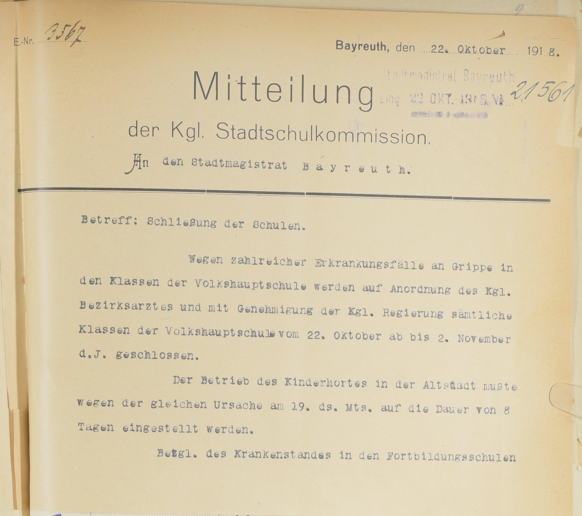 Mitteilung der Kgl. Stadtschulkommission vom 22. Oktober 1918 über Schließung der Schulen