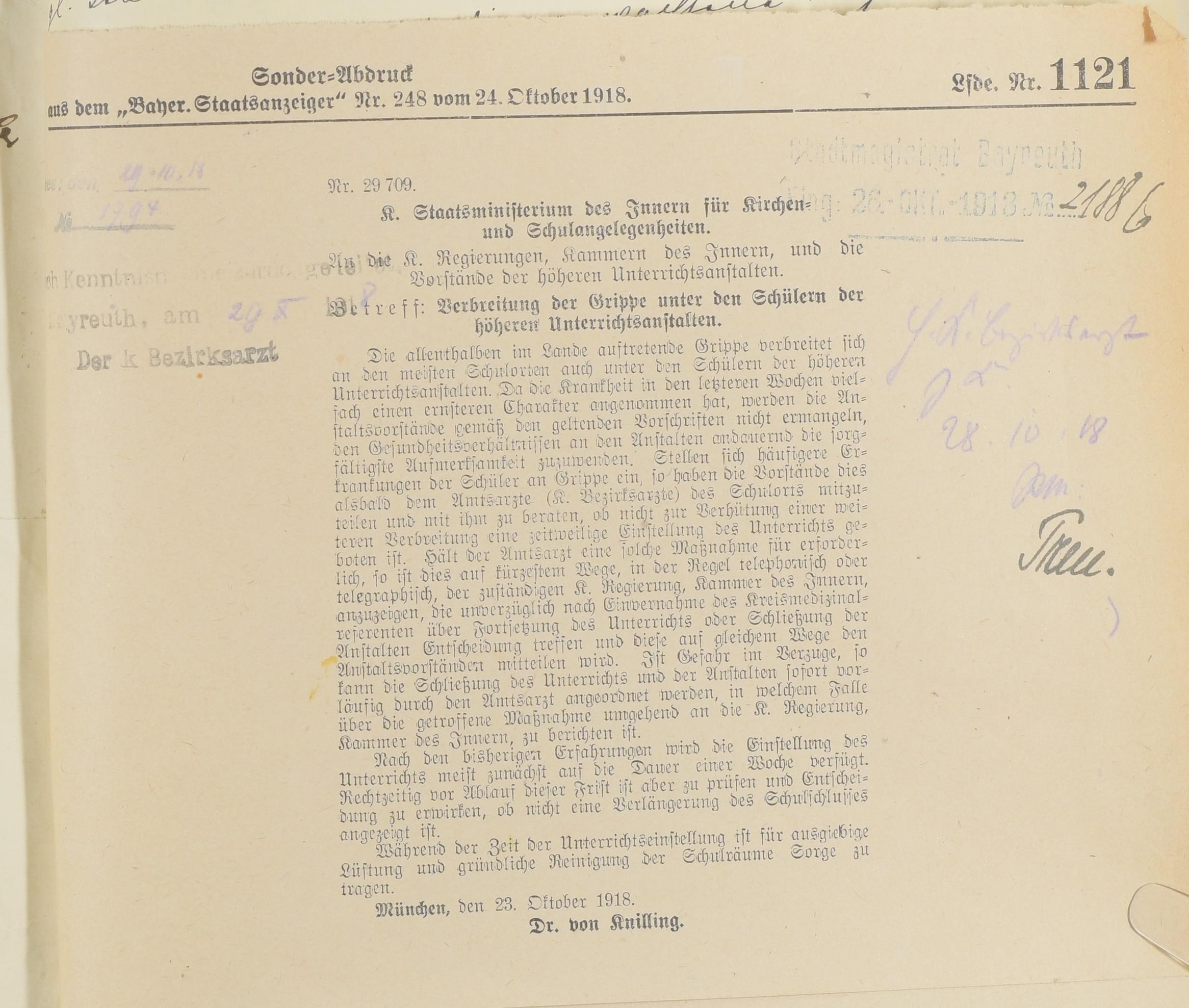 Verordnungen des K. Staatsministeriums des Innern für Kirchen- und Schulangelegenheiten vom 23. Und 24. Oktober 1918 bei Verbreitung der Grippe unter den Schülern der höheren Unterrichtsanstalten sowie unter den Volksschülern