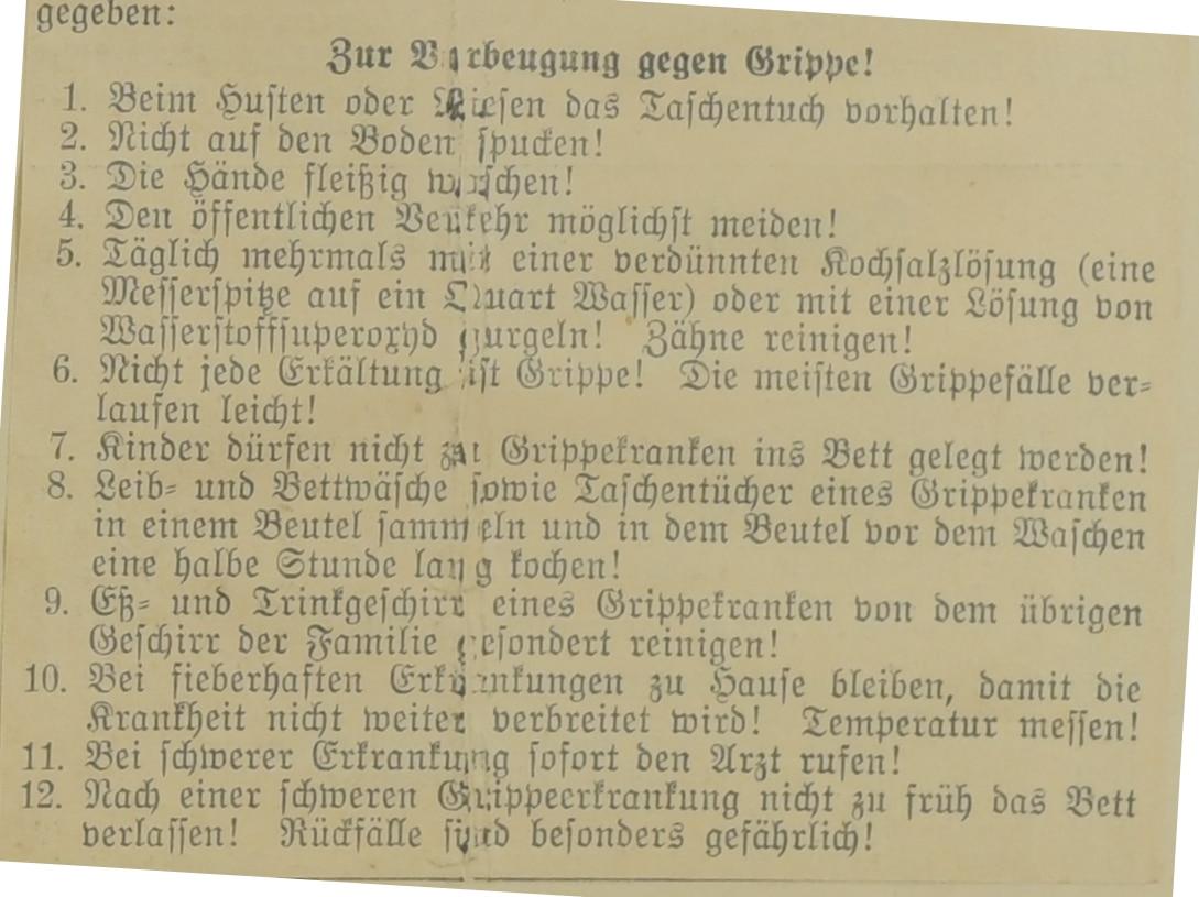 Anzeigen über Erkrankungen an Influenza und Grippe.1890 - 1892 1918, 1933, Stadtarchiv Bayreuth, Nr. 13178