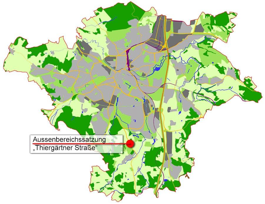 Übersichtskarte B-Plan Aussenbereichssatzung Thiergärtner Straße
