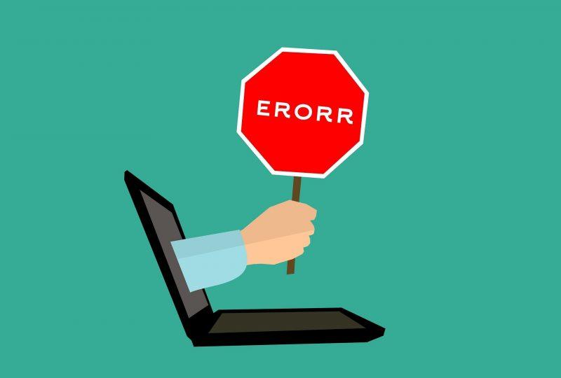 Technische Störung, Illustration mit Stopschilder und Aufschrift ERROR