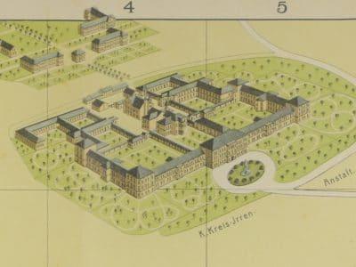 StadtABT, Monumentalplan von Bayreuth mit Ausschnitt Kreis-Irrenanstalt 1905