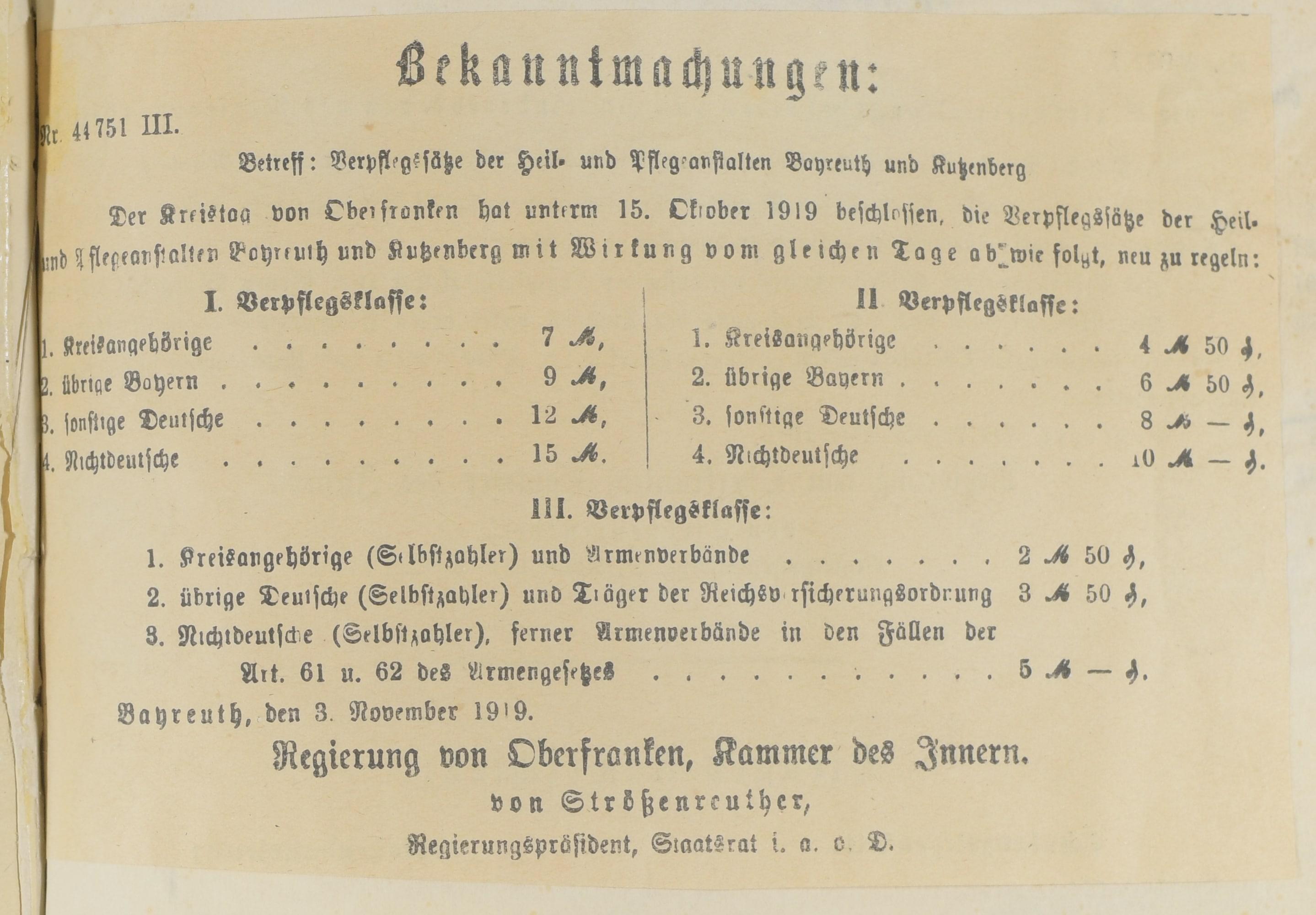 StadtABT, Akte Nr. 4826 Verpflegungssätze 1919