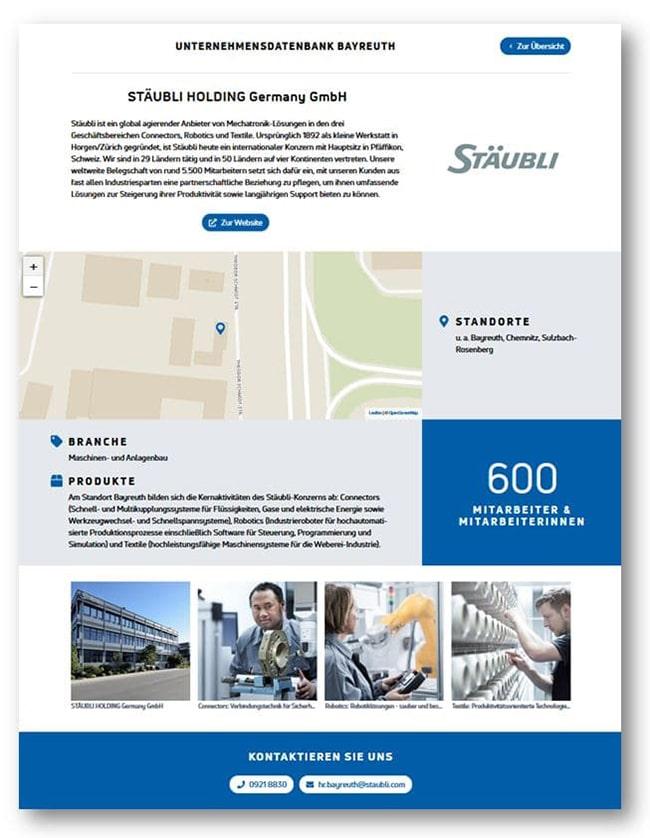 So kann Ihr Firmeneintrag in der Bayreuther Unternehmensdatenbank aussehen.