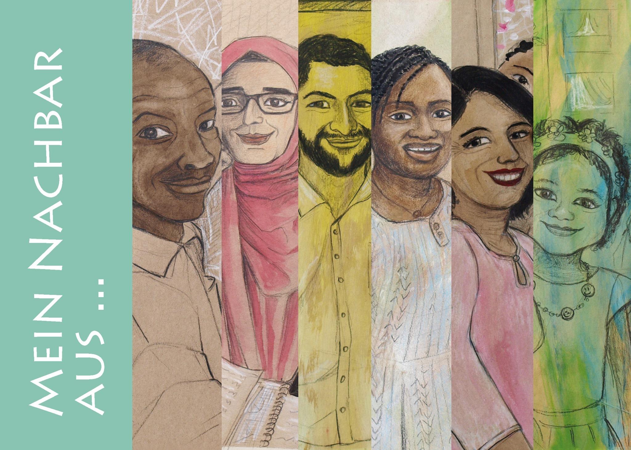 Das Ausstellungsplakat zeigt Menschen unterschiedlichen Alters, unterschiedlicher Hautfarbe und unterschiedlichen Geschlechts.
