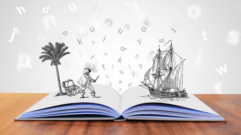 Aufgeschalgenes Buch aus dem Figuren und Buchstaben entsteigen.