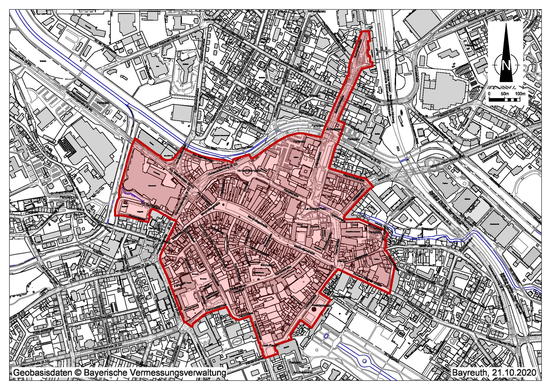Lageplan der öffentlichen Plätze mit Maskenpflicht und Alkoholkonsumverbot