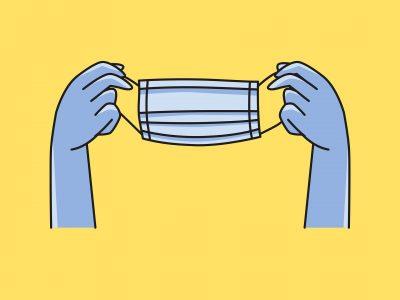 Hände die einen Mund-Nase-Schutz halten