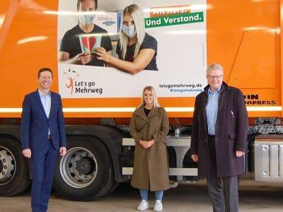 Landrat Florian Wiedemann, Nina Titus von Radio Mainwelle und Oberbürgermeister Thomas Ebersberger