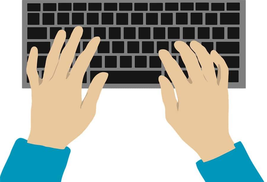 Zeichnung, bei der gemalte Hände die Tastatur berühren