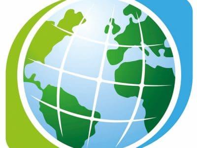 Logo des Klima-Bündnisses in Form einer Weltkugel.