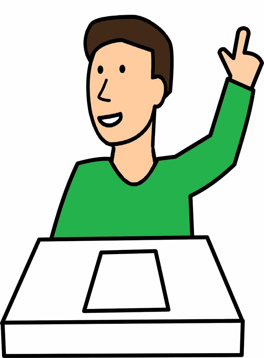 Zeichnung Mensch meldet sich, hebt seine Hand