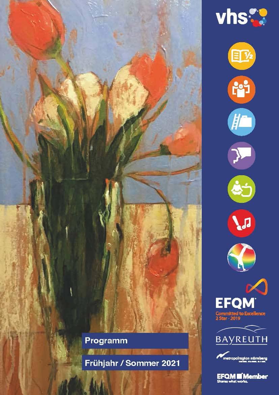 Das Cover des vhs-Programmhefts zeigt einen gemalten Blumenstrauß.
