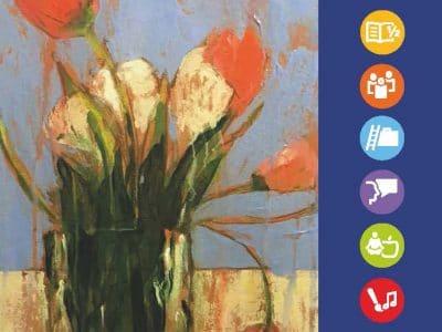 Das Cover des neuen vhs-Programmheftes zeigt einen gemalten Blumenstrauß.