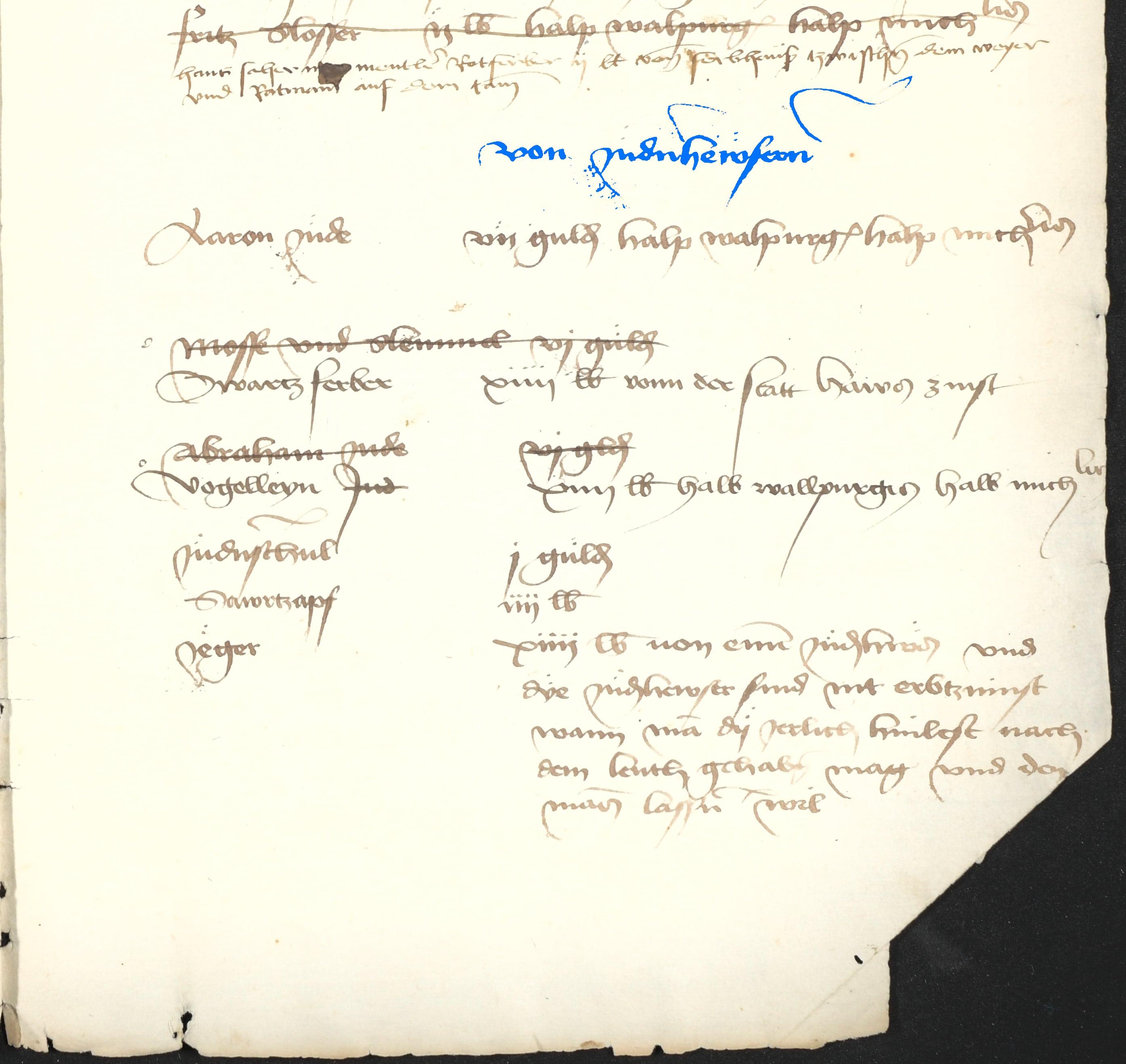 Auszug aus dem ältesten Bayreuther Stadtbuch: 1. Mai 1463 – Zinszahlungen von den Judenhäusern, Einwohner Aaron, Mosse, Slemmel, Swartzferber, Abraham, Vogelleyn jud und Saurtzapf